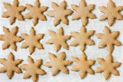 Cookies do Natal, cookies do floco de neve do pão-de-espécie fotografia de stock