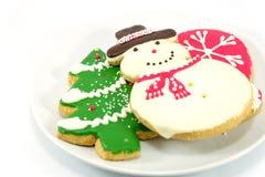 Cookies do Natal; homem da neve e árvore de Natal Imagem de Stock Royalty Free