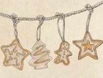 Cookies do Natal, vintage do alimento das pastelarias Imagem de Stock