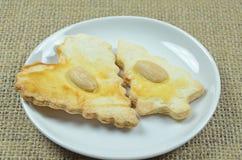 Cookies do pão-de-espécie na lona fotografia de stock