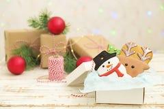 Cookies do pão-de-espécie do Natal no fim de madeira branco do fundo da caixa de presente acima Fotografia de Stock