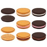 Cookies do sanduíche com grupo realístico do vetor do creme 3d ilustração royalty free