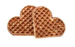 Cookies do waffle sob a forma dos corações Fotos de Stock Royalty Free