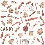 Cookies doces dos doces ajustadas Imagens de Stock Royalty Free