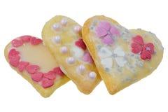 Cookies doces isoladas do Natal na forma do coração Imagens de Stock Royalty Free