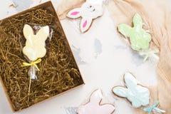 Cookies dos coelhinhos da Páscoa Fotografia de Stock