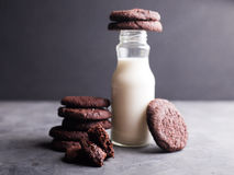 Cookies dos pedaços de chocolate com uma garrafa do leite Fotos de Stock Royalty Free