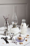 Cookies with Dried Lavender and Milk Still Life. Cookies with Dried Lavender and Milk on a White Wooden Table Still Life Royalty Free Stock Photos