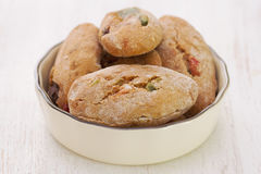 Cookies with dry fruits on dish Stock Photos