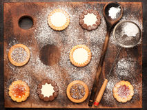 Cookies dusted with icing sugar Royalty Free Stock Photography