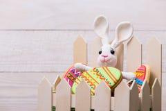 Cookies e coelho saborosos coloridos da Páscoa no fundo de madeira branco fotografia de stock