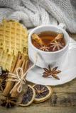 cookies e copo deliciosos do chá quente com uma vara de canela Foto de Stock Royalty Free