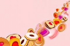 Cookies e fundo dos doces Fotografia de Stock