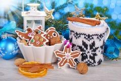 Cookies e leite do pão-de-espécie no copo com tampa feita malha para Santa Fotografia de Stock Royalty Free