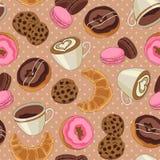 Cookies e teste padrão do café, luz - marrom Fotografia de Stock Royalty Free