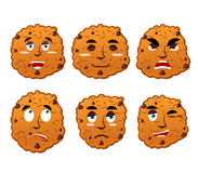 Cookies emotions set. Oatmeal cookie evil and good. Calm and agg ...