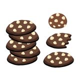 Cookies escuras do chocolate com as microplaquetas brancas de Choco ilustração royalty free
