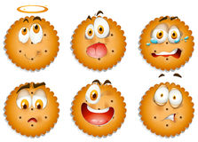 Cookies with facial expressions Stock Photos
