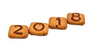 Cookies with figures 2018. On white background Stock Photo