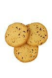 Cookies with flax seed and sesame on a white background Royalty Free Stock Images