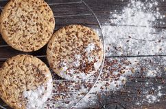 Cookies with flax seeds Royalty Free Stock Image