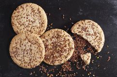 Cookies with flax seeds Stock Images
