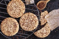 Cookies with flax seeds Royalty Free Stock Photos