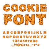 Cookies font. Biscuits with chocolate Drops alphabet. Letters of. Cookie. Food lettering. Edible typography. Baking ABC. Crackers and oatmeal pastry Stock Photos