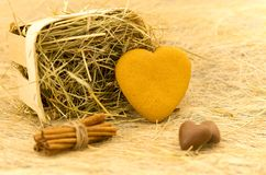 Cookies in the form of heart. Basket with hay, cinnamon and chocolate. Royalty Free Stock Photography