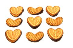 Cookies in the form of heart with chocolate Royalty Free Stock Photo