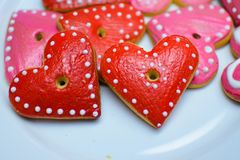 Cookies in the form of a heart decorated with dots.  royalty free stock photos