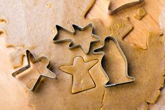 Cookies forms and gingerbread dough Royalty Free Stock Photography