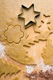 Cookies forms and gingerbread dough Stock Photos