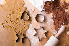 Cookies forms and gingerbread dough Royalty Free Stock Photo
