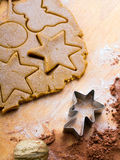 Cookies forms and gingerbread dough Stock Images