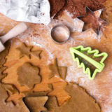 Cookies forms and gingerbread dough Royalty Free Stock Image
