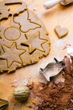Cookies forms and gingerbread dough Stock Photography