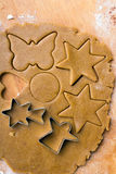 Cookies forms and gingerbread dough Royalty Free Stock Images
