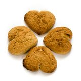 4 Cookies. Four heart shaped cookies isolated on a white background stock images