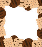 Cookies Frame. Frame various cookies isolated on white Stock Images