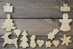 Cookies Frame on Wooden Background Royalty Free Stock Image