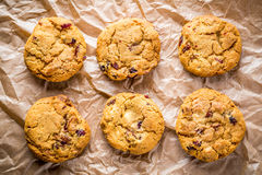 Cookies. Frashly baked white chocolate and cramberry cookies Royalty Free Stock Photography