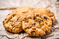 Cookies. Frashly baked white chocolate and cramberry cookies Stock Images