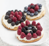 Cookies with fresh berries. Cookies with whipped cream and berries on white background Stock Photography