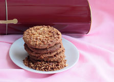 Cookies with a fried peanut. Cookies with a peanut shredded, fried. Against a coffee can Stock Photos