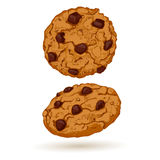 Cookies front and side views. Sweet pastry vector illustration. Realistic design of food Royalty Free Stock Photo