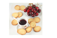 Cookies and fruit tea, cherry Stock Photo