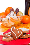 Cookies and fruits Stock Images