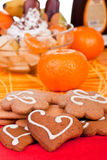 Cookies with fruits in background Stock Images