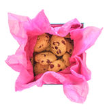 Cookies in a gift box on white background Royalty Free Stock Image